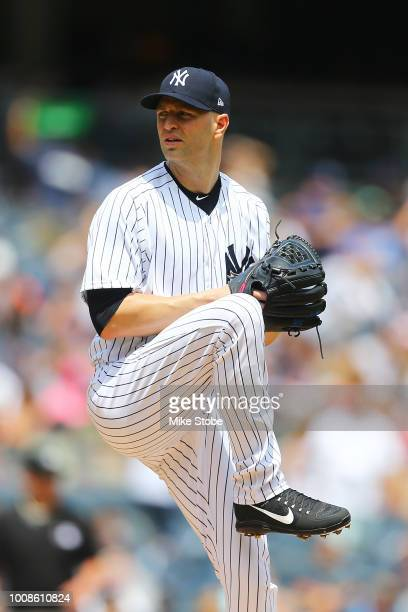 A Happ of the New York Yankees pitches in the first inning against the Kansas City Royals at Yankee Stadium on July 29 2018 in the Bronx borough of...