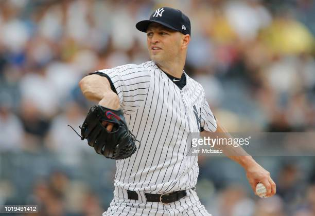 A Happ of the New York Yankees pitches in the first inning against the Toronto Blue Jays at Yankee Stadium on August 19 2018 in the Bronx borough of...