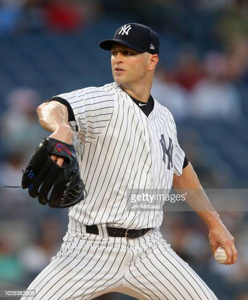 A Happ of the New York Yankees pitches in the first inning against the Detroit Tigers at Yankee Stadium on August 30 2018 in the Bronx borough of New...