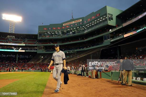 A Happ of the New York Yankees takes the field for the game against the Boston Red Sox at Fenway Park on Friday September 28 2018 in Boston...