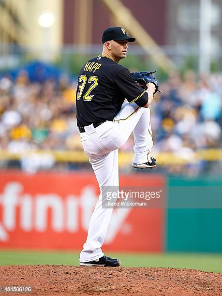 A Happ of the Pittsburgh Pirates pitches against the Chicago Cubs during the game at PNC Park on August 4 2015 in Pittsburgh Pennsylvania