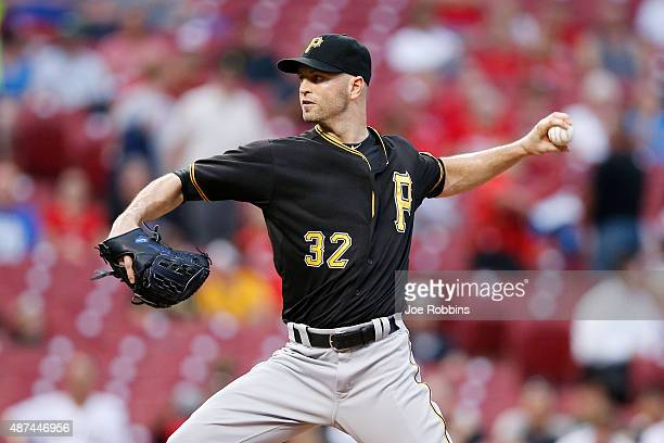 A Happ of the Pittsburgh Pirates pitches in the first inning against the Cincinnati Reds at Great American Ball Park on September 9 2015 in...