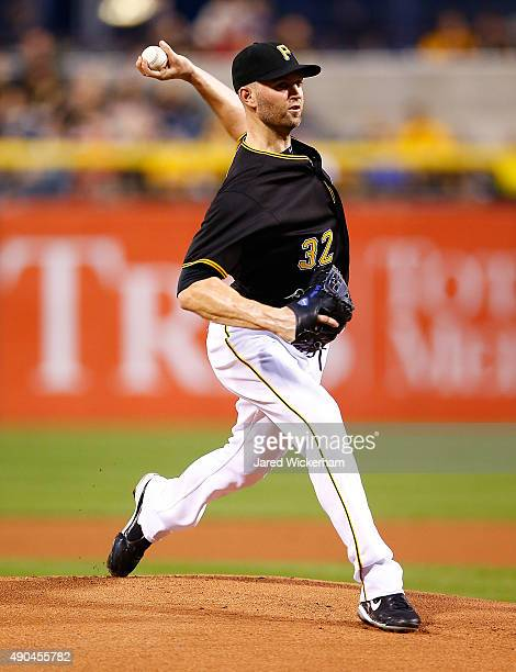 A Happ of the Pittsburgh Pirates pitches in the first inning against the St Louis Cardinals during the game at PNC Park on September 28 2015 in...