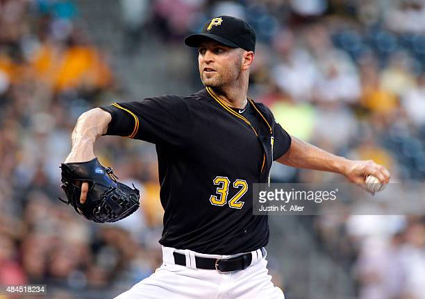 A Happ of the Pittsburgh Pirates pitches in the first inning during the game against the Arizona Diamondbacks at PNC Park on August 19 2015 in...