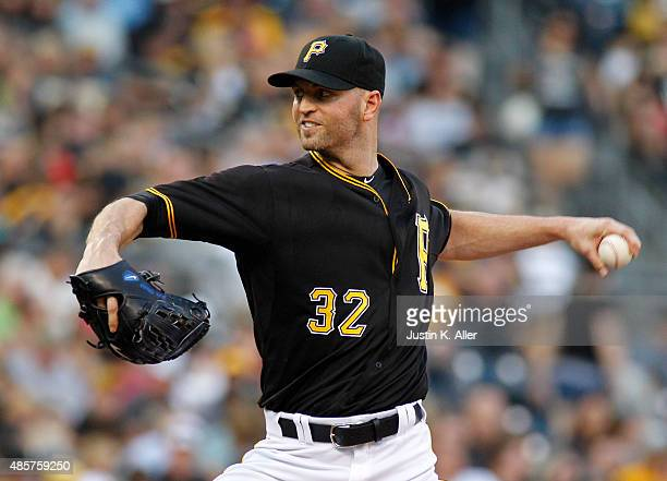 A Happ of the Pittsburgh Pirates pitches in the first inning during the game against the Colorado Rockies at PNC Park on August 29 2015 in Pittsburgh...