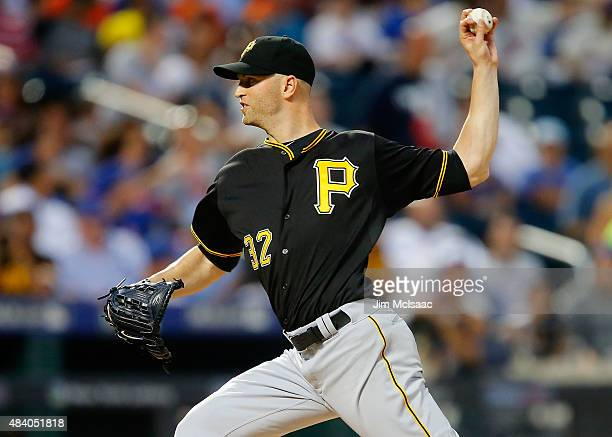 A Happ of the Pittsburgh Pirates pitches in the fourth inning against the New York Mets at Citi Field on August 14 2015 in the Flushing neighborhood...