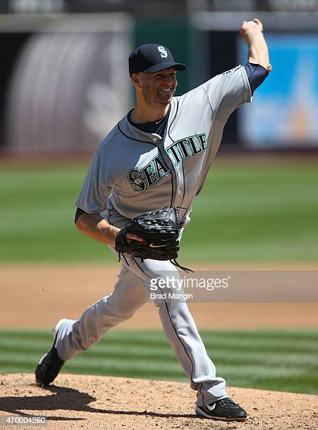 A Happ of the Seattle Mariners pitches against the Oakland Athletics during the game at Oco Coliseum on Saturday April 11 2015 in Oakland California