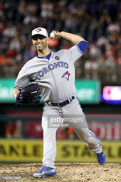 A Happ of the Toronto Blue Jays and the American League pitches in the tenth inning against the National League during the 89th MLB AllStar Game...