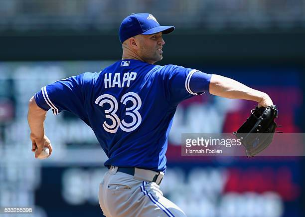 A Happ of the Toronto Blue Jays delivers a pitch against the Minnesota Twins during the first inning of the game on May 21 2016 at Target Field in...