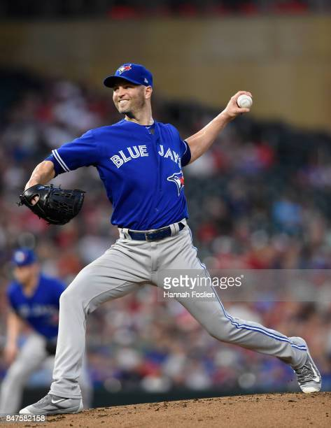 A Happ of the Toronto Blue Jays delivers a pitch against the Minnesota Twins during the first inning of the game on September 15 2017 at Target Field...