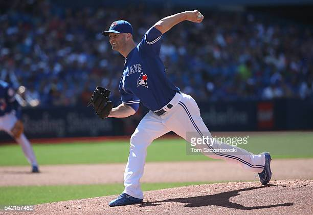 A Happ of the Toronto Blue Jays delivers a pitch in the first inning during MLB game action against the Arizona Diamondbacks on June 22 2016 at...