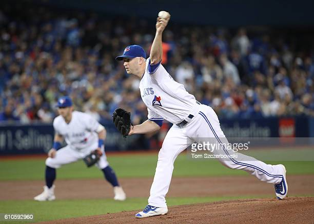 A Happ of the Toronto Blue Jays delivers a pitch in the first inning during MLB game action against the New York Yankees on September 26 2016 at...