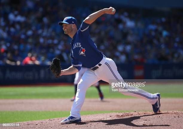 A Happ of the Toronto Blue Jays delivers a pitch in the first inning during MLB game action against the New York Yankees at Rogers Centre on July 7...