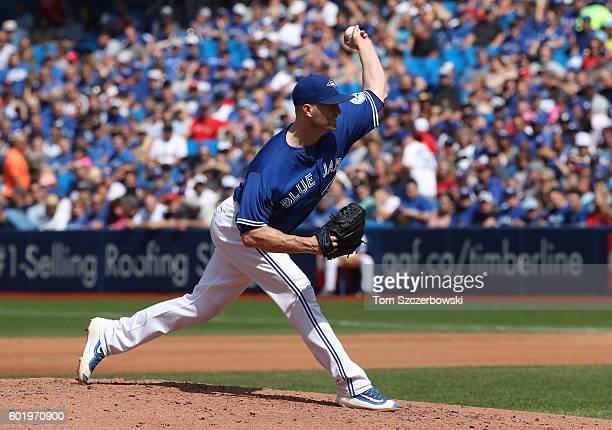 A Happ of the Toronto Blue Jays delivers a pitch in the fourth inning during MLB game action against the Boston Red Sox on September 10 2016 at...