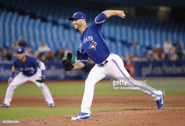 A Happ of the Toronto Blue Jays delivers a pitch in the second inning during MLB game action against the Chicago White Sox at Rogers Centre on April...