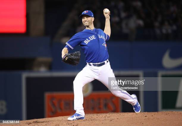 A Happ of the Toronto Blue Jays delivers a pitch in the second inning during MLB game action against the Kansas City Royals at Rogers Centre on April...