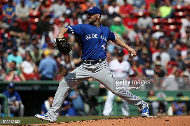 J A Happ of the Toronto Blue Jays delivers in the 2nd inning during the game against the Boston Red Sox at Fenway Park on April 18 2016 in Boston...