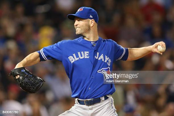 A Happ of the Toronto Blue Jays delivers in the second inning of a game against the Boston Red Sox at Fenway Park on September 4 2017 in Boston...