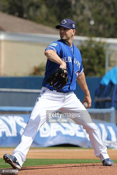 A Happ of the Toronto Blue Jays during the game against the Baltimore Orioles at Florida Auto Exchange Stadium on March 4 2016 in Dunedin Florida