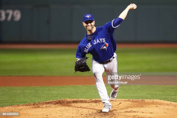A Happ of the Toronto Blue Jays pitches against the Boston Red Sox during the first inning at Fenway Park on September 26 2017 in Boston Massachusetts