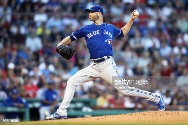 A Happ of the Toronto Blue Jays pitches against the Boston Red Sox during the second inning at Fenway Park on July 12 2018 in Boston Massachusetts