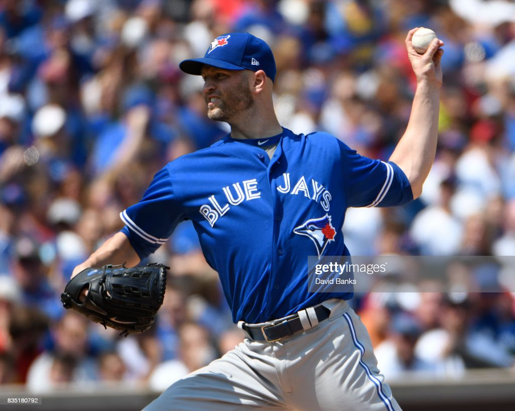 J.A. Happ #33 of the Toronto Blue Jays pitches against the Chicago Cubs during the first inning n August 18, 2017 at Wrigley Field in Chicago, Illinois.
