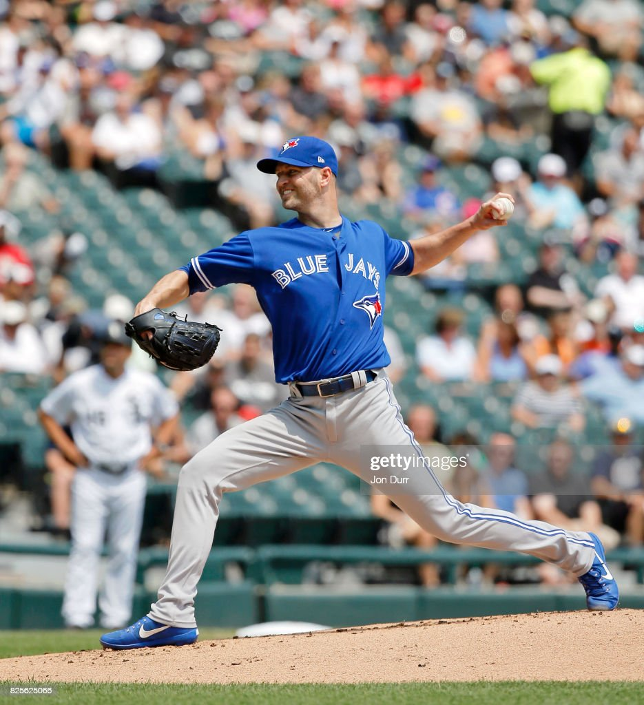 J.A. Happ #33 of the Toronto Blue Jays pitches against the Chicago White Sox during the first inning at Guaranteed Rate Field on August 2, 2017 in Chicago, Illinois.