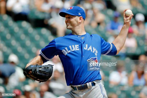 A Happ of the Toronto Blue Jays pitches against the Chicago White Sox during the first inning at Guaranteed Rate Field on August 2 2017 in Chicago...