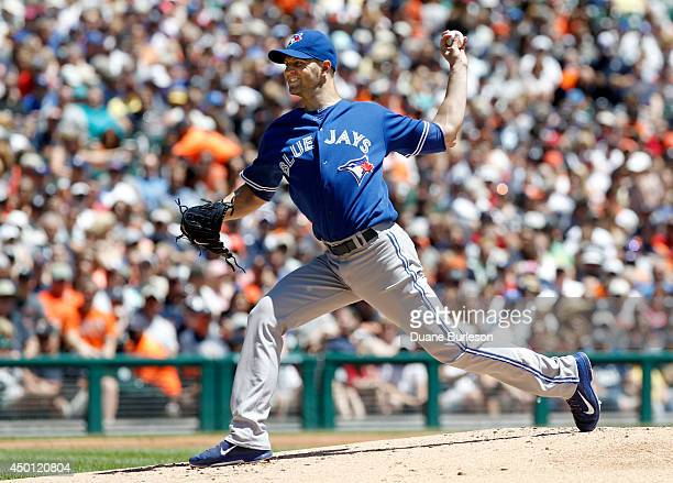 A Happ of the Toronto Blue Jays pitches against the Detroit Tigers during the second inning at Comerica Park on June 5 2014 in Detroit Michigan Happ...