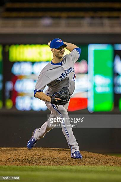 A Happ of the Toronto Blue Jays pitches against the Minnesota Twins on April 17 2014 at Target Field in Minneapolis Minnesota The Twins defeated the...