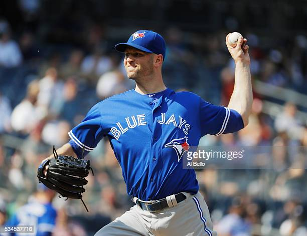 A Happ of the Toronto Blue Jays pitches against the New York Yankees during their game at Yankee Stadium on May 26 2016 in New York City