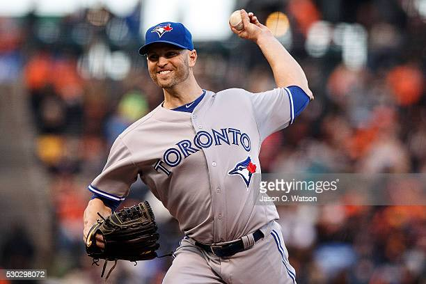 A Happ of the Toronto Blue Jays pitches against the San Francisco Giants during the first inning at ATT Park on May 10 2016 in San Francisco...