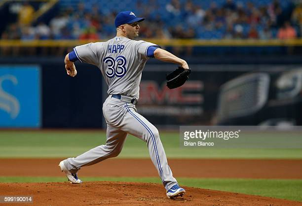 A Happ of the Toronto Blue Jays pitches during the first inning of a game against the Tampa Bay Rays on September 4 2016 at Tropicana Field in St...