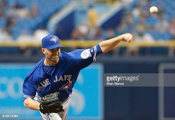 A Happ of the Toronto Blue Jays pitches during the second inning of a game against the Tampa Bay Rays on April 6 2016 at Tropicana Field in St...