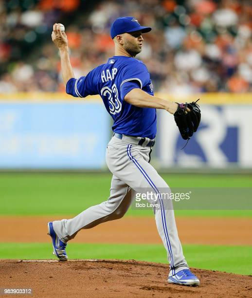 A Happ of the Toronto Blue Jays pitches in the first inning against the Houston Astros at Minute Maid Park on June 25 2018 in Houston Texas