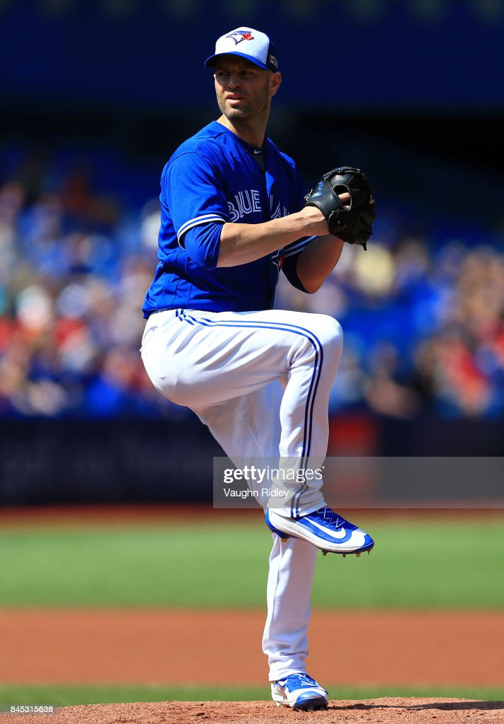 J.A. Happ #33 of the Toronto Blue Jays pitches in the first inning during MLB game action against the Detroit Tigers at Rogers Centre on September 10, 2017 in Toronto, Canada.