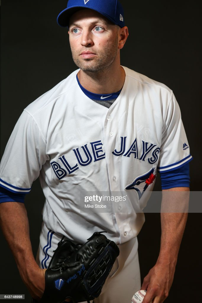 J.A. Happ #33 of the Toronto Blue Jays poses for a portait during a MLB photo day at Florida Auto Exchange Stadium on February 21, 2017 in Sarasota, Florida.