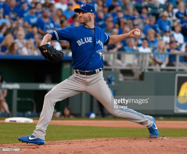 A Happ of the Toronto Blue Jays throws in the first inning against the Kansas City Royals at Kauffman Stadium on June 23 2017 in Kansas City Missouri