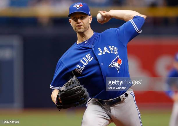 A Happ of the Toronto Blue Jays throws in the first inning of a baseball game against the Tampa Bay Rays at Tropicana Field on May 4 2018 in St...