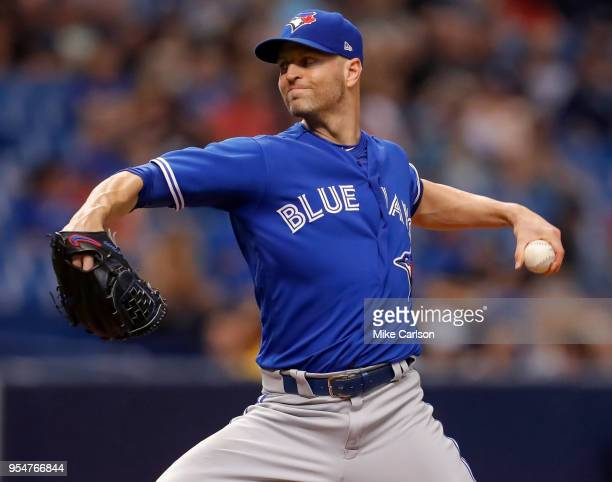 A Happ of the Toronto Blue Jays throws in the fourth inning of a baseball game against the Tampa Bay Rays at Tropicana Field on May 4 2018 in St...