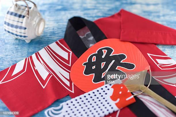 happi coat, tenugui and fan - 手ぬぐい ストックフォトと画像