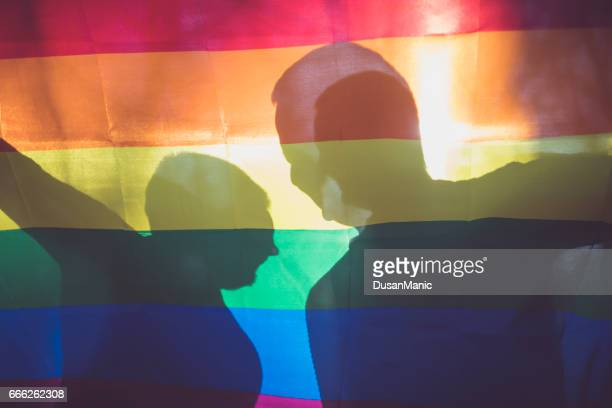 happi male gay couple  hold a rainbow flag - pride stock pictures, royalty-free photos & images