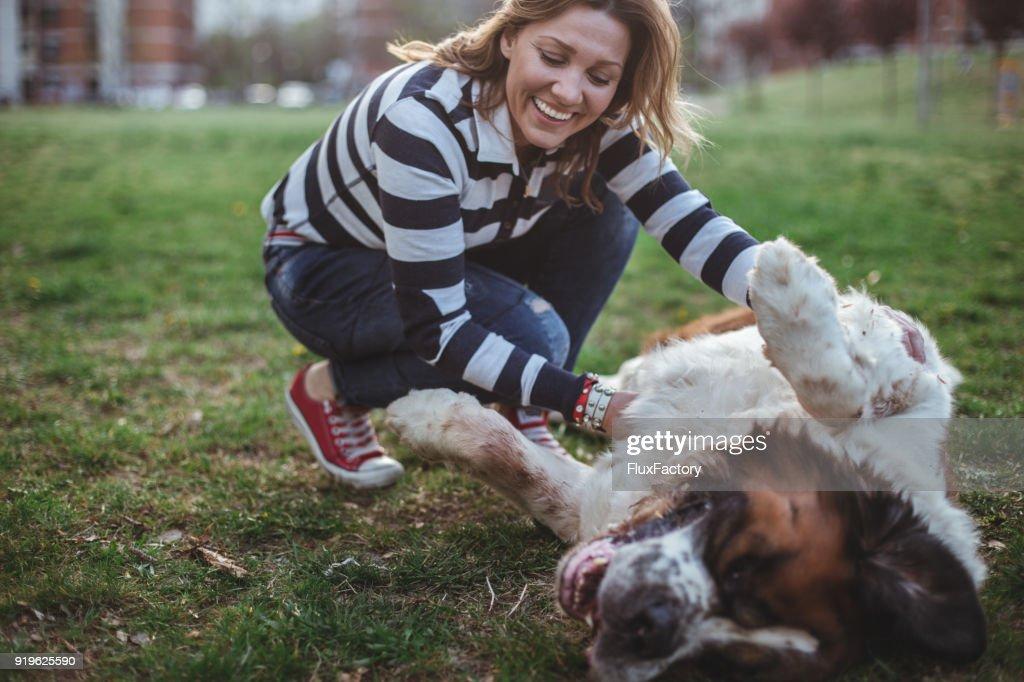 Am glücklichsten Hundebesitzer um : Stock-Foto