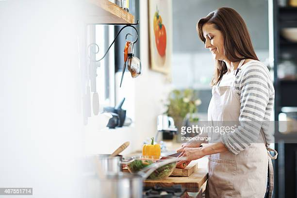 Happiest when she's cooking