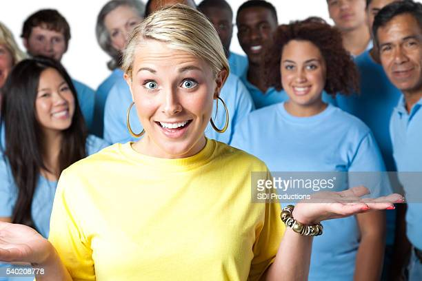 Happily confused Woman with team
