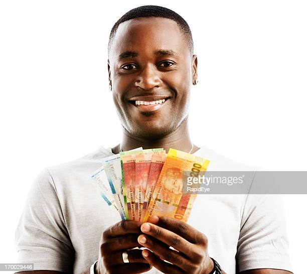 "happily smiling man holding mixed new south african ""mandela"" banknotes - south african currency stock photos and pictures"