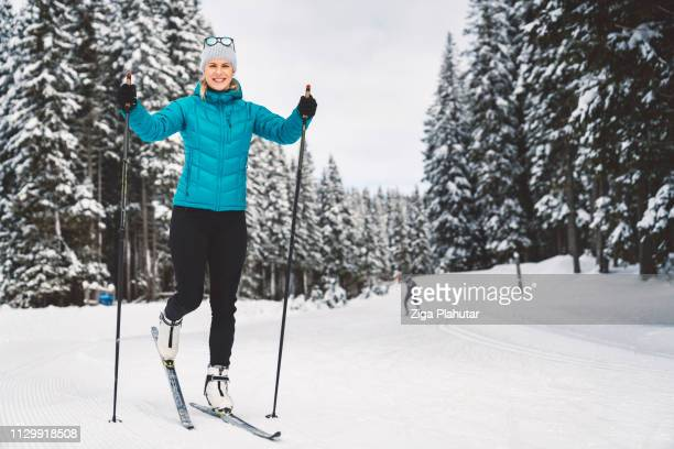 happines is cross-country skiing on a beautiful winter day - ski racing stock pictures, royalty-free photos & images