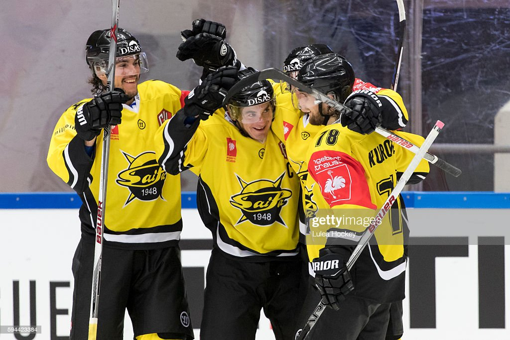 happiness and celebrations in SaiPa Lappeenranta during the Champions Hockey League match between Lulea Hockey and SaiPa Lappeenranta at Coop Norrbotten Arena on August 23, 2016 in Lulea, Sweden.