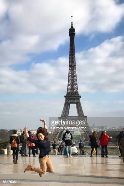 Happiness at the Eiffel Tower, Paris.