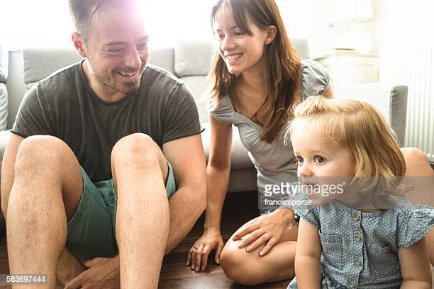 happiness british family on the living room